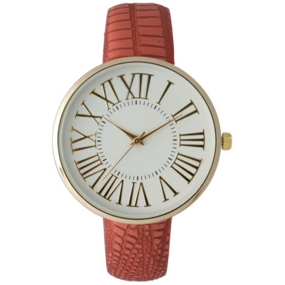 Olivia Pratt Womens Gold-Tone White Dial Red Croc-Embossed Leather Strap Watch 14328