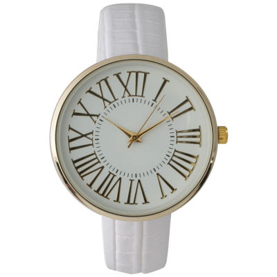 Olivia Pratt Womens Gold-Tone White Dial White Croc-Embossed Leather Strap Watch 14328