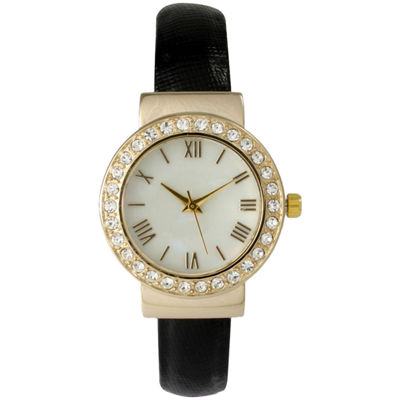 Olivia Pratt Womens Gold-Tone White Dial Beige Leather Strap Watch 14133