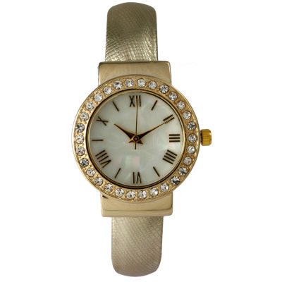 Olivia Pratt Womens Who Cares Gold-Tone White Dial Black Leather Strap Watch 14133