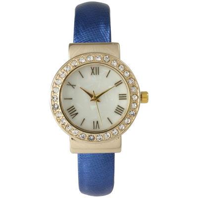 Olivia Pratt Womens Gold-Tone White Dial Blue Bangle Watch 14164