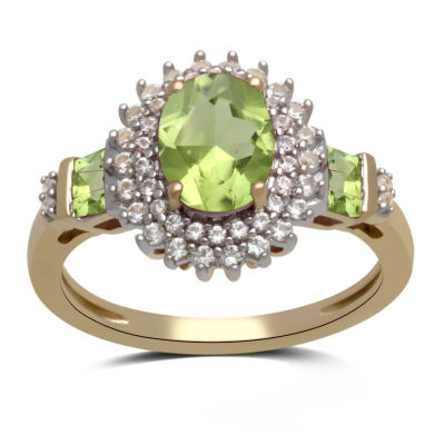 Genuine Peridot And Lab Created White Sapphire Ring In 14K Gold Over Silver