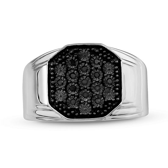 Mens 1/10 CT. T.W. Color-Enhanced Black Diamond Sterling Silver Ring
