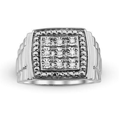 Mens 1/10 CT. T.W. Diamond Sterling Silver Ring