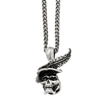Mens Stainless Steel Antiqued Skull With Feather Pendant