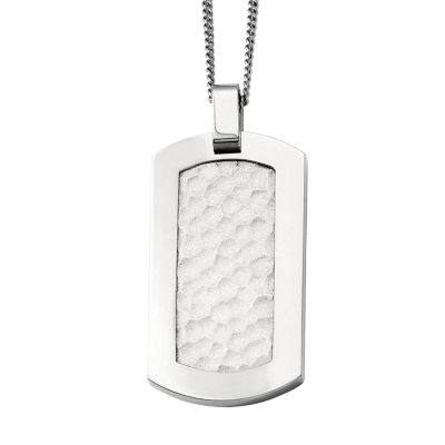 Mens Titanium Hammered Dog Tag Pendant