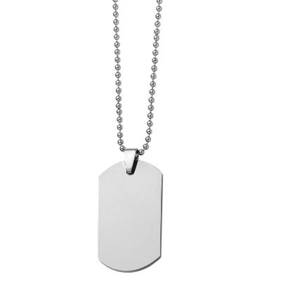 Mens Tungsten Carbide Dog Tag Pendant
