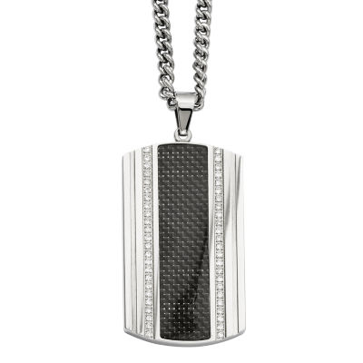 Mens Cubic Zirconia Stainless Steel & Black Carbon Fiber Dog Tag Pendant
