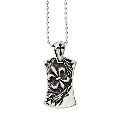 Mens Stainless Steel Antiqued Fleur De Lis Dog Tag Pendant