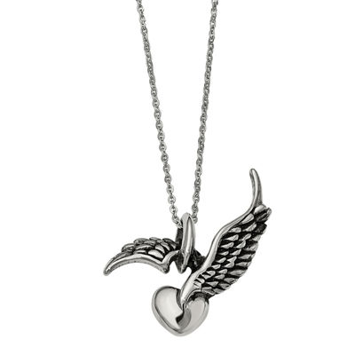 Mens Stainless Steel Antiqued Winged Heart Pendant