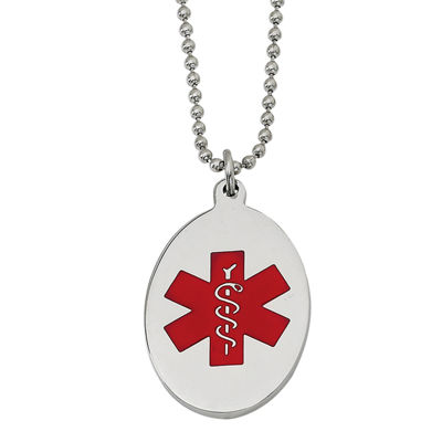 Mens Stainless Steel & Red Enamel Oval Medical Pendant