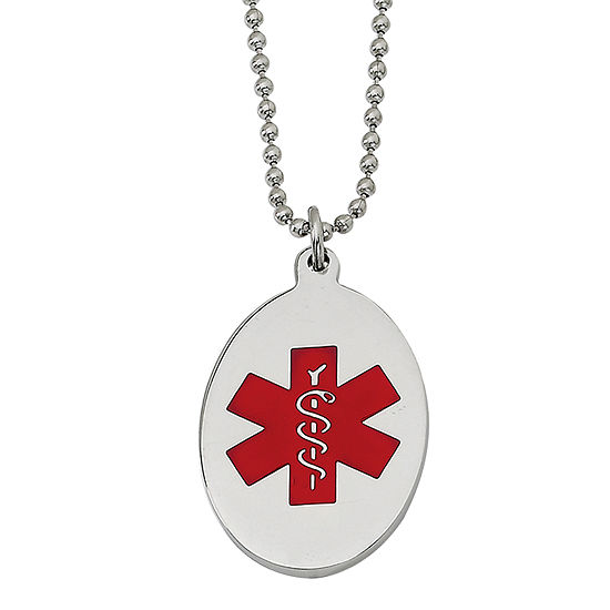 Mens Stainless Steel & Red Enamel Oval Medical Pendant