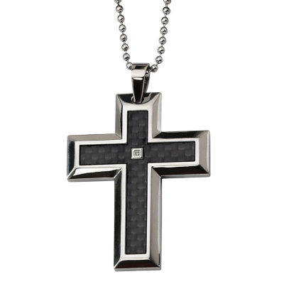 Mens Diamond Accent Stainless Steel Cross Pendant
