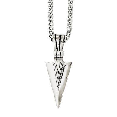 Mens Stainless Steel Antiqued Dagger Pendant