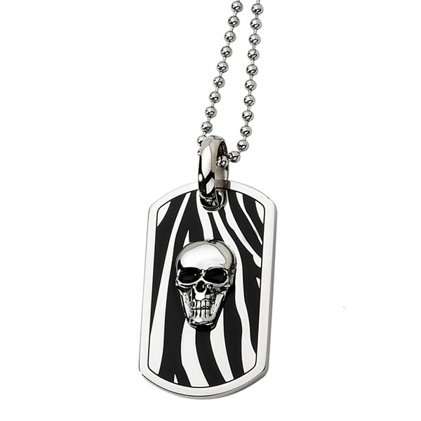 Mens Stainless Steel Enameled Skull Dog Tag Pendant