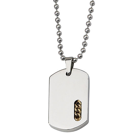 Mens Stainless Steel Yellow Ion-Plated Dog Tag Pendant