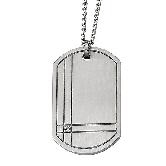 Mens Diamond Accent Titanium Dog Tag Pendant