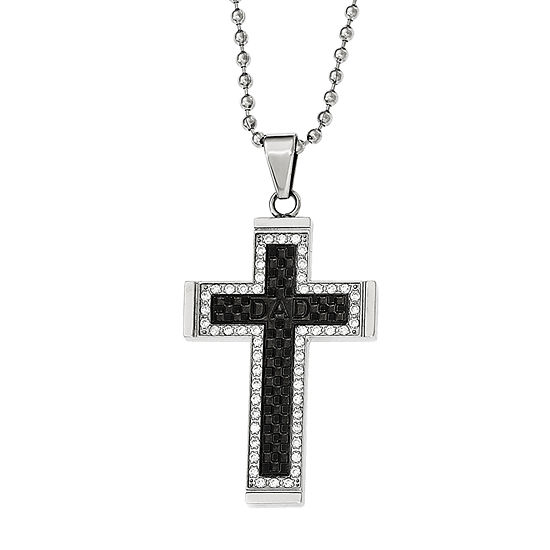 Mens Cubic Zirconia Black Ion-Plated Stainless Steel Cross Pendant