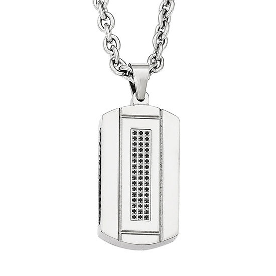 Mens Cubic Zirconia Black Ion-Plated Stainless Steel Pendant