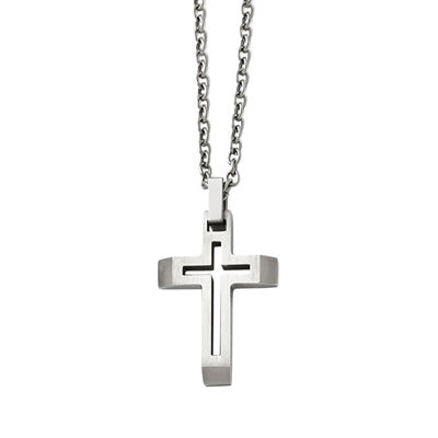 Mens Stainless Steel Cut-Out Cross Pendant