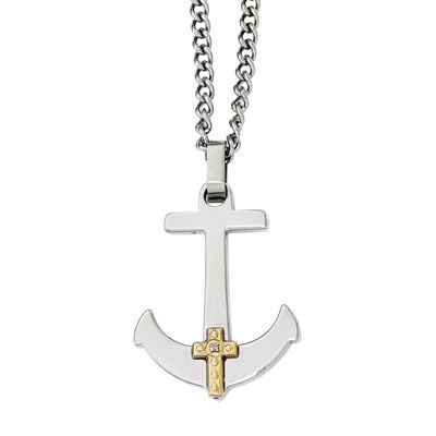 Mens Diamond Accent Stainless Steel & 14K Yellow Gold Anchor Mariner Cross Pendant