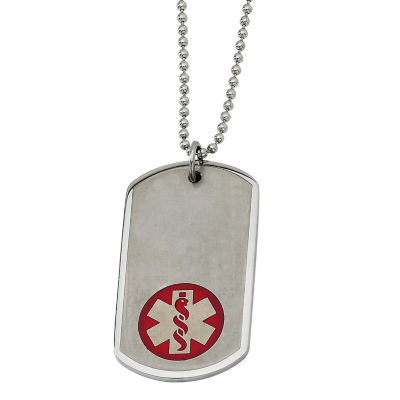 Mens Stainless Steel Large Dog Tag Medical Pendant