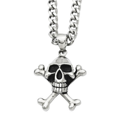 Mens Stainless Steel Antiqued Skull & Crossbones Pendant