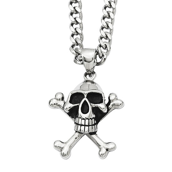 Mens Stainless Steel Antiqued Skull & Crossbones Pendant