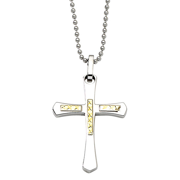 Mens Stainless Steel & 14K Yellow Gold Accent Cross Pendant