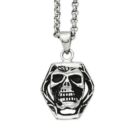 Mens Stainless Steel Antiqued Skull Pendant