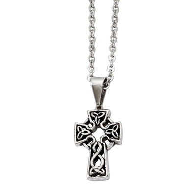 Mens Stainless Steel Antiqued Cross Pendant