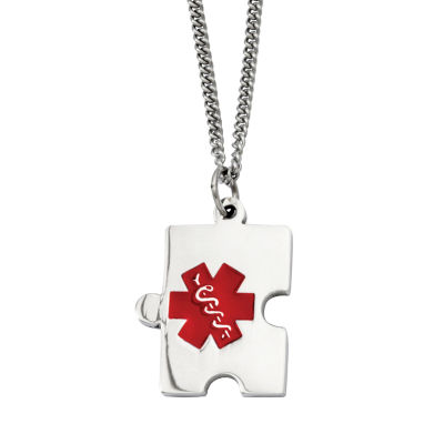 Mens Stainless Steel Puzzle Piece Medical Pendant