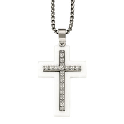 Mens Cubic Zirconia Stainless Steel & White Ceramic Cross Pendant