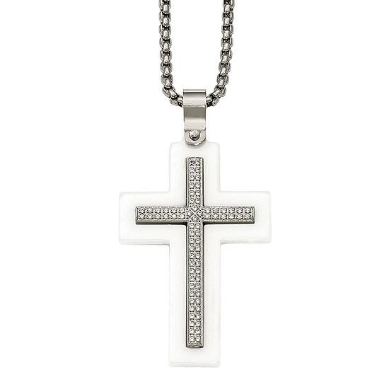 Mens Cubic Zirconia Stainless Steel & White Ceramic Cross Pendant