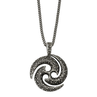 Mens Stainless Steel Antiqued & Textured Circle Pendant
