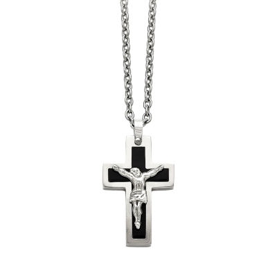 Mens Stainless Steel Black Ion-Plated Crucifix Pendant