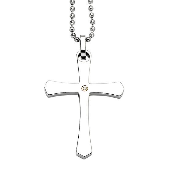 Mens Diamond Accent Stainless Steel & 14K Yellow Gold Accent Cross Pendant
