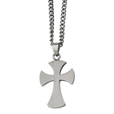 Mens Stainless Steel Medieval Cross Pendant