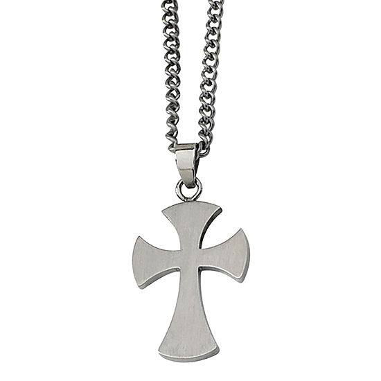 Mens Stainless Steel Medieval Cross Pendant