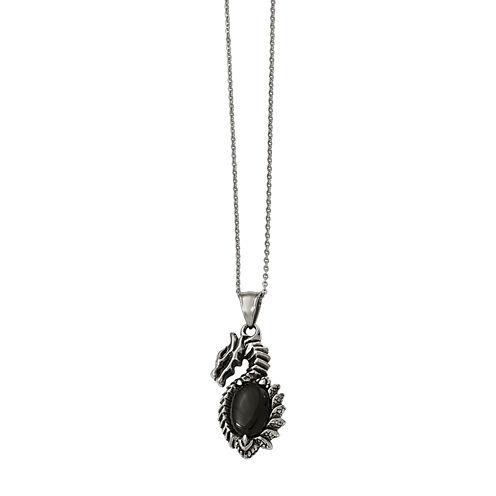 Mens Stainless Steel & Black Glass Dragon Pendant