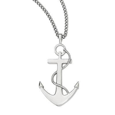 Mens Stainless Steel Anchor Mariner Cross Pendant