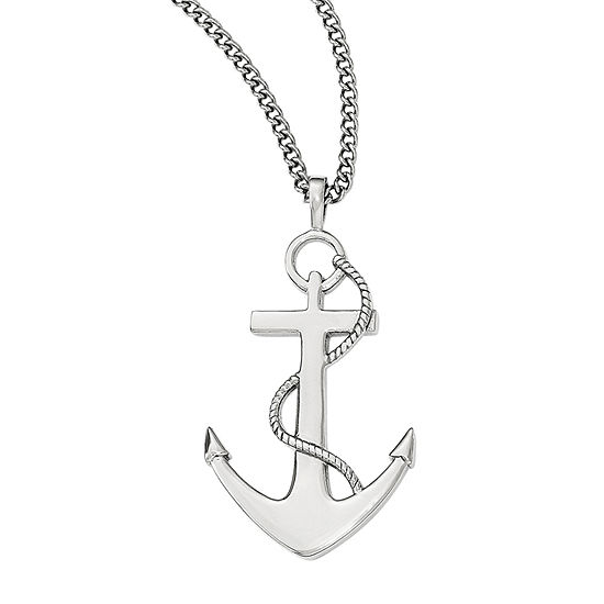 Mens Stainless Steel Anchor Mariner Cross Pendant