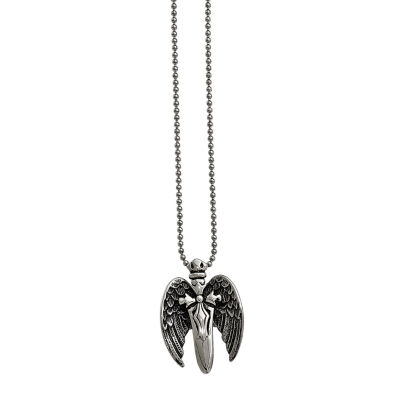 Mens Stainless Steel Antiqued Winged Sword Pendant