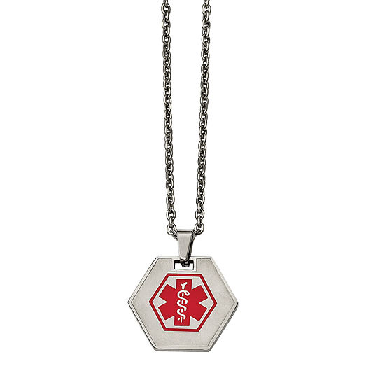 Mens Stainless Steel Hexagon Shaped Medical Pendant