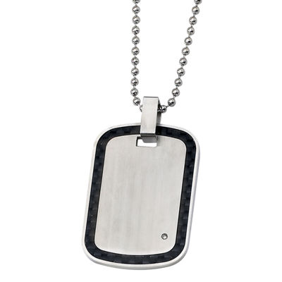 Mens Diamond Accent Stainless Steel & Black Carbon Fiber Pendant