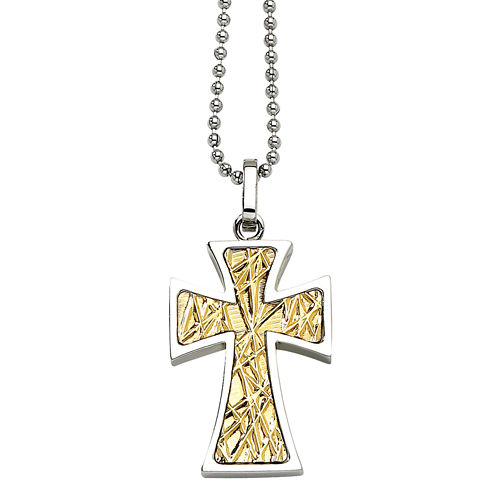 Mens Stainless Steel 14K Yellow Gold Accent Cross Pendant