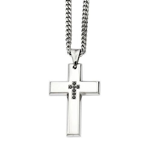 Mens Color Enhanced Black Diamond Accent Stainless Steel Cross Pendant