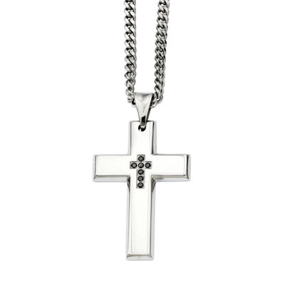 Mens Color Enhanced Black Diamond Accent Stainless Steel Cross Pendant