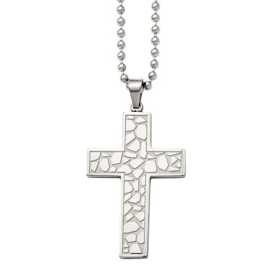 Mens Stainless Steel Textured Cross Pendant