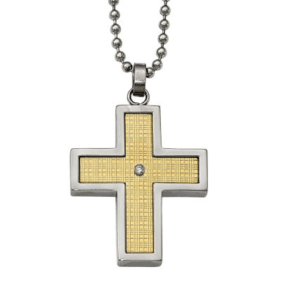 Mens Diamond Accent Stainless Steel & 18K Yellow Gold Cross Pendant